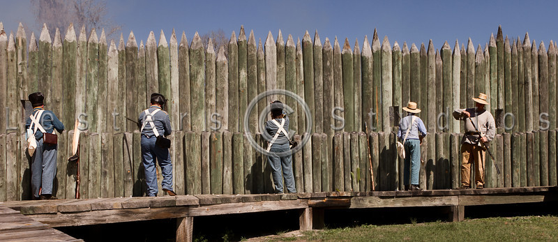 Regular army and militia prepare to defend the bridge.
