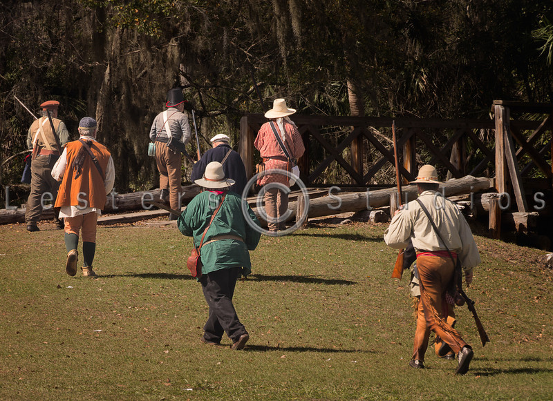 The militia crosses the bridge to ensure that the Seminoles don't come back.