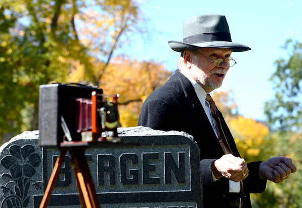 """""""Eben G.Fine,"""" played by Chuck Sanders, talks about his life and love for nature and photography.<br /> The permanent residents of the historic Columbia Cemetery in Boulder came to life to tell their story on Sunday.<br /> For more photos and a video of the spirits, go to  <a href=""""http://www.dailycamera.com"""">http://www.dailycamera.com</a>. <br /> Cliff Grassmick  / October 7, 2012"""