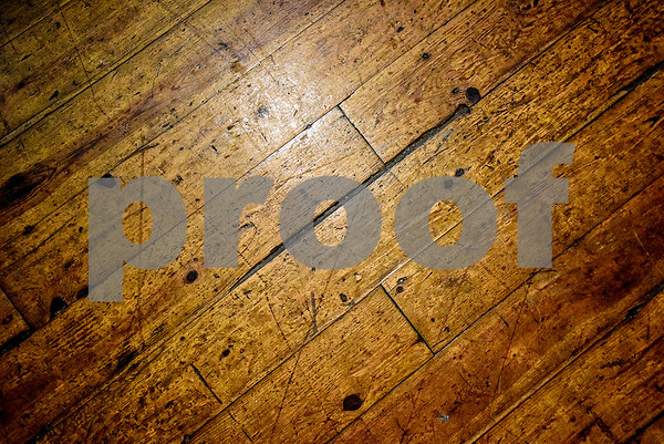 The original hardwood floor on the main stage at the Mayfair Building, photographed in Tyler, Texas, on Thursday, April 20, 2017. The building was constructed in the early 20th century and has hosted a number of well-known musicians, including Elvis Presley, for performances. (Chelsea Purgahn/Tyler Morning Telegraph)