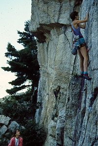 Mary Henry, Carolyn? Belaying, Skytop, 1986