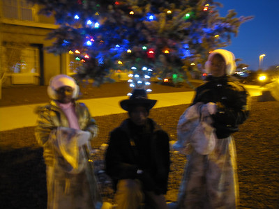 Young Ladies of the Regiment and Young Buffalo Soldier enjoying the Christmas Lights decorations at the Williams, Depot before aboarding The Polar Express Train Ride.