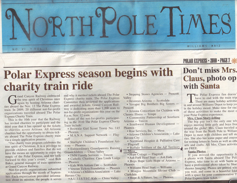 North Pole Times Newspaper - Polar Express Train Ride, Williams, AZ<br /> Awarded Buffalo Soldiers of the Arizona Territory - Ladies and Gentlemen of the Regiment, Mesa, AZ.  November 12, 2010