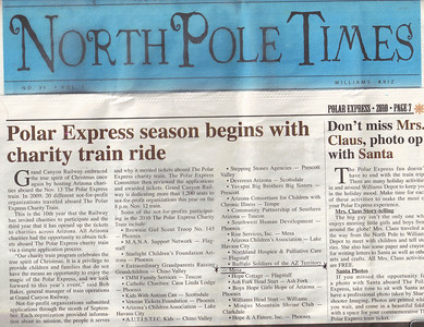 North Pole Times Newspaper - Polar Express Train Ride, Williams, AZ Awarded Buffalo Soldiers of the Arizona Territory - Ladies and Gentlemen of the Regiment, Mesa, AZ.  November 12, 2010