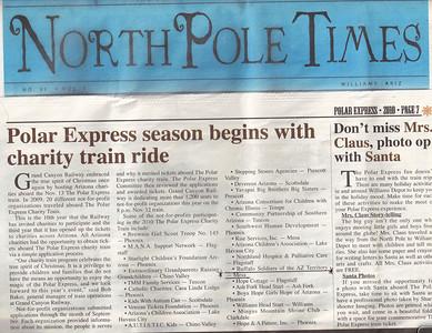North Pole Times Newspaper - Polar Express Train Ride, Williams, AZ Awarded Buffalo Soldiers of the Arizona Territory - Ladies and Gentlemen of the Regiment, Mesa, AZ.  November 12, 2010