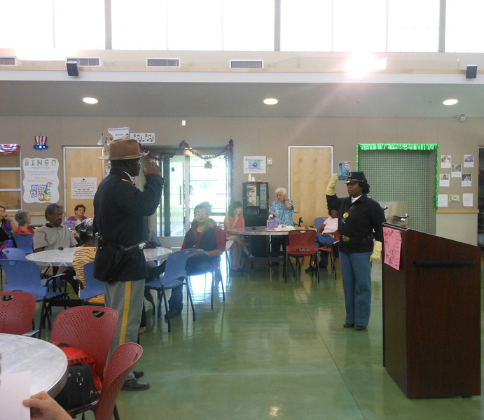 June 19, 2012                      1st Annual Juneteenth Celebration<br />                                              Adam Diaz Senior Center, Phoenix<br /> <br />                    Pvt. Michelle London-Marable salute Cmdr Fred Marable,<br />                        Buffalo Soldiers of the Arizona Territory, Mesa, AZ.