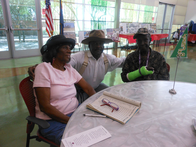 June 19, 2012                     1st Annual Juneteenth Celebration<br />                                             Adam Diaz Senior Center, Phoenix, AZ<br /> <br /> Cmdr Fred Marable (Buffalo Soldier) greeting the guests.