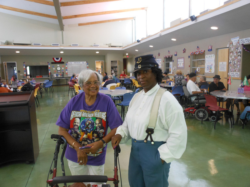 June 19, 2012                1st Annual Juneteenth Celebration<br />                                        Adam Diaz Senior Center, Phoenix, AZ<br /> <br /> Pvt. Michelle London-Marable (Buffalo Soldier) and Betty (guest).