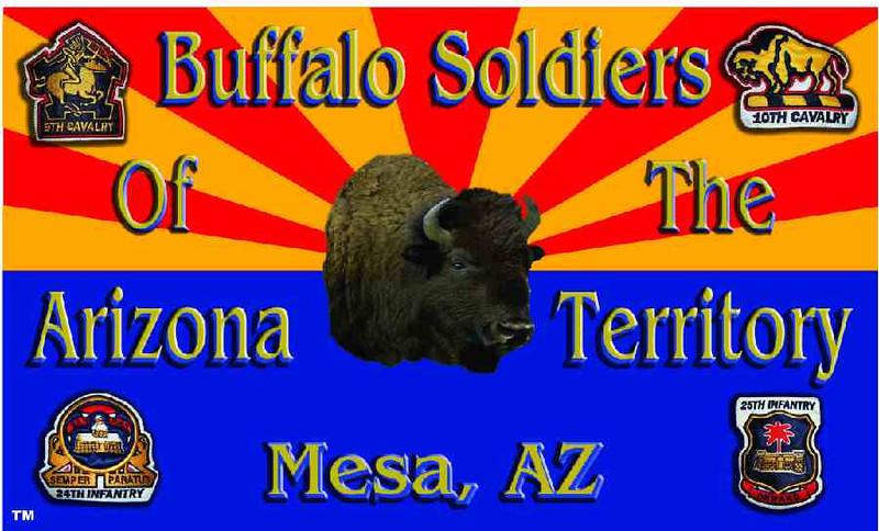 The Official Arizona Centennial Legacy Buffalo Soldiers of the Arizona Territory - Ladies and Gentlemen of the Regiment's Regimental Flag.<br /> <br /> Cmdr Fred Marable and Michelle London-Marable, Founders