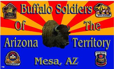 The Official Arizona Centennial Legacy Buffalo Soldiers of the Arizona Territory - Ladies and Gentlemen of the Regiment's Regimental Flag.  Cmdr Fred Marable and Michelle London-Marable, Founders