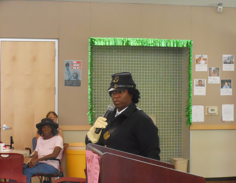 "June 19, 2012                    1st Annual Juneteenth Celebration<br />                                            Adam Diaz Senior Center, Phoenix<br /> <br /> Pvt. Michelle London-Marable portraying the 1st Black Female Buffalo Soldier ""Cathy Williams and enlisted as William Cathay"", 1866 - 1868 presentation."