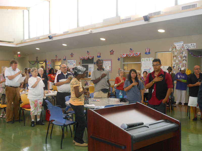 "June 19, 2012                        1st Annual Junetennth Celebration<br />                                                Adam Diaz Senior Center, Phoenix<br /> <br />           The seniors and guests singing ""America"" with The Buffalo Soldiers of the Arizona Territory."