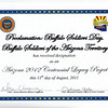 "August 11, 2011<br /> <br /> Awarded the PROCLAMATION: ""Buffalo Soldiers Day"" June 19th and The Official Arizona Centennial Legacy ""Buffalo Soldiers of the Arizona Territory - Ladies and Gentlemen of the Regiment, Mesa, AZ""."