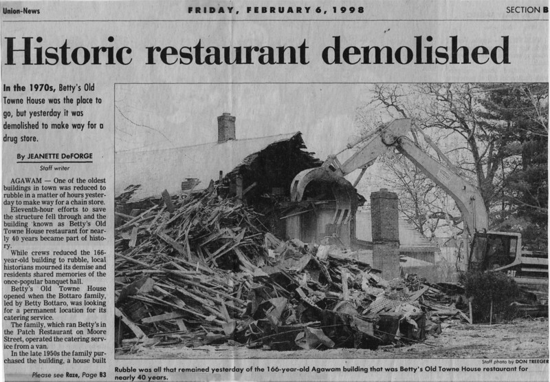 Agawam Restaurant Demolished