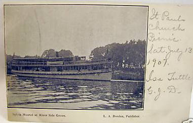 Agawam Sylvia moored at River Side Grove 1907
