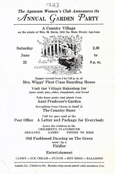 Agawam Garden Party Program