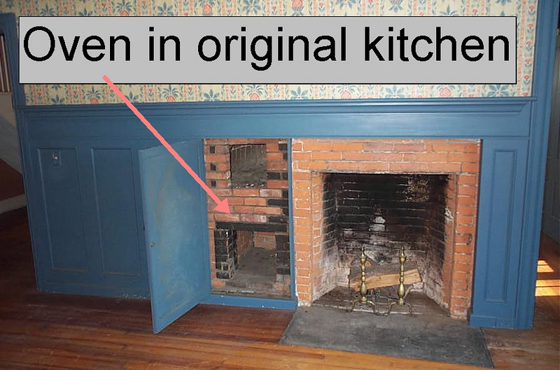 Original oven in kitchen of Joseph Button House before the move and restoration.