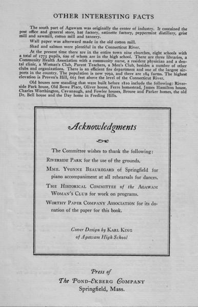 Agawam History Dates 3