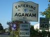 "Welcome to Agawam.  This is the State of Mass. ""Entering Agawam"" sign on Rt. 159 (formerly Rt 5A) as you cross the Mass/CT border from Suffield, CT.  Six Flags is just up the road."