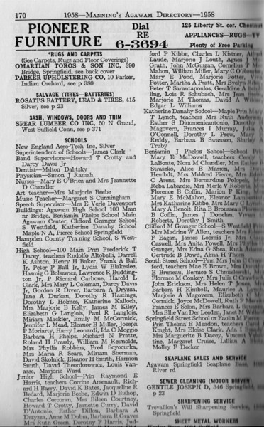 Agawam Business Directory 1958 12