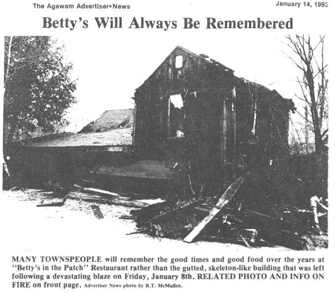 Agawam, Aftermath Betty's Fire