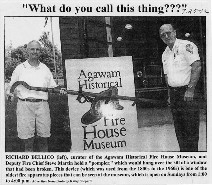 Agawam, Oldest Fire Equipment