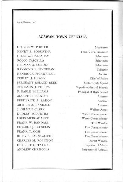 Agawam Officials 1936