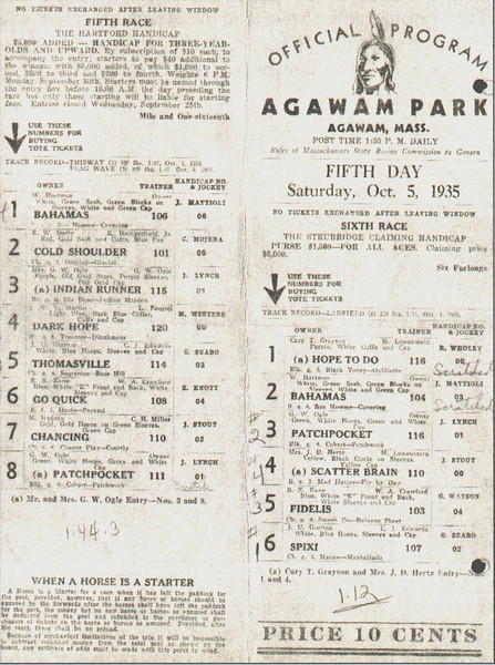 Agawam Park Race Track Program