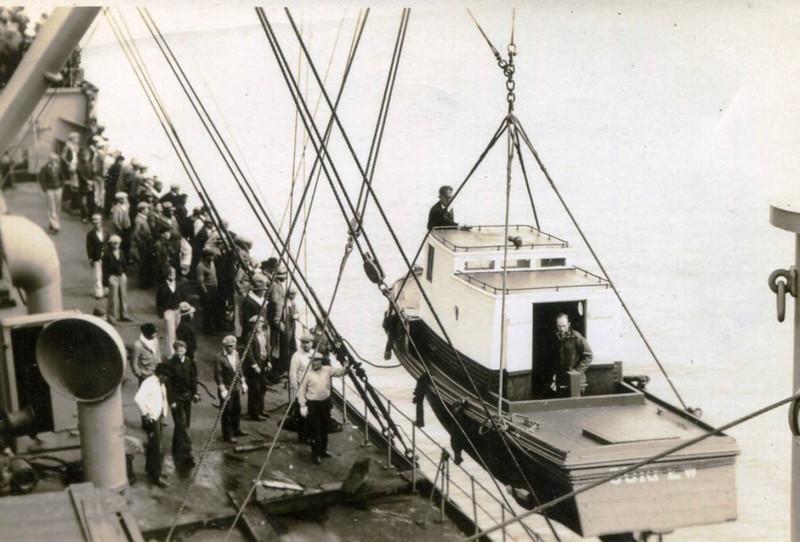 Bristol Bay,Unloading New Monkey Boat Off Steamer,Pic Taken 1940's,