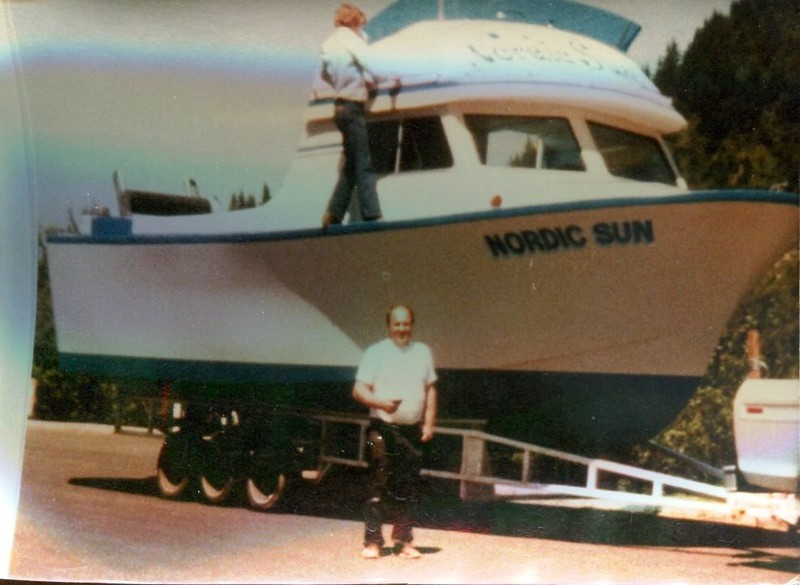 Nordic Sun Launching 1979  Builder Owner Operator Dale Leino Later named  Erliene
