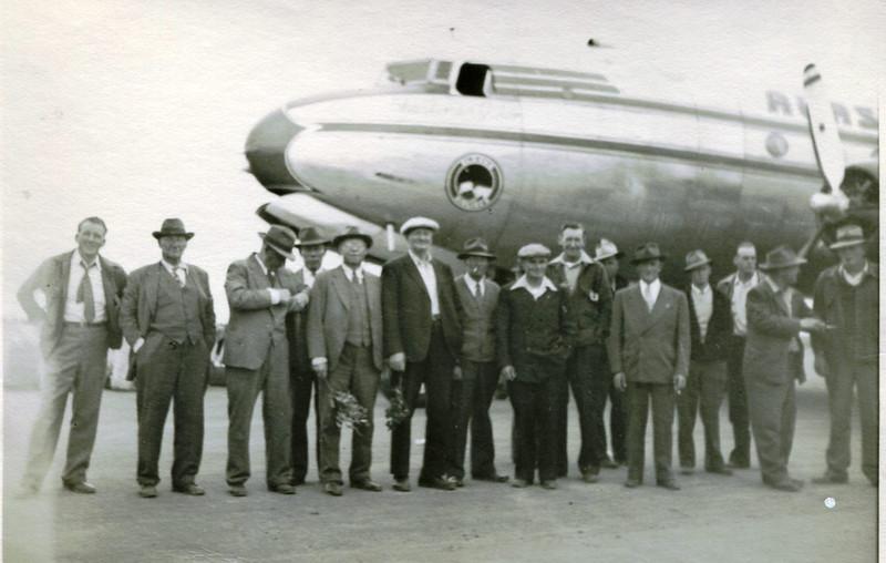 Astoria 1947,First Time Fishermen Flying To Bristol Bay,Far Right Nils Norgaard,