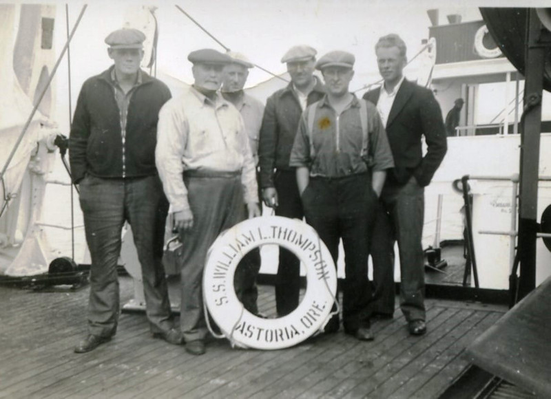Nils Norgaard,unknown,Trygve Tetli,John Vatn,Fritz Fremstad,Ragnar Norgaard,SS William Thompson,Headed Bristol Bay,1938,