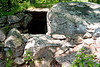 <center>Watch House   <br><br>Salem, NH   <br><br>The right side of this house is a glacial boulder. Stone and bone pendants were found during the excavation of this house. The house is aligned with the February 1st and November 1st standing stones.    </center>