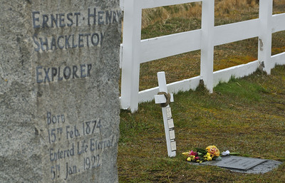 Shackleton's headstone, and to his left, the resting place of the ashes of Frank Wild.