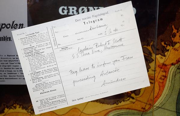 Amundsen Scott Telegram, Fram Museum, Oslo