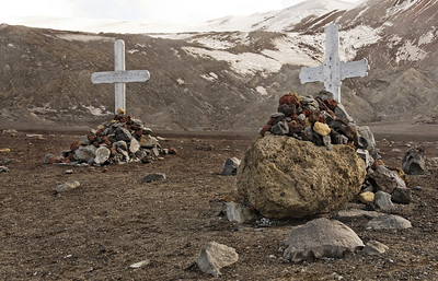 Whalers' graves, Deception Island, South Shetland Islands.