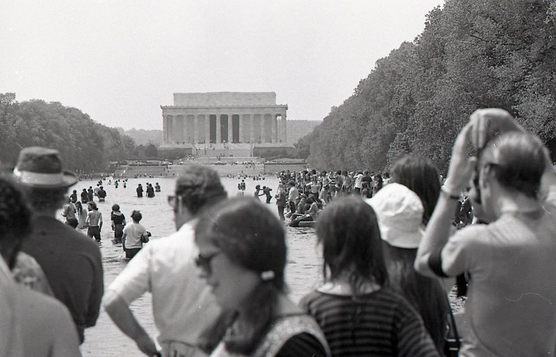 Reflecting pool had plenty of odd ducks that day. Anti-war demonstration, Washington DC, May 9, 1970.