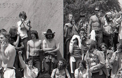 The kazoo band was on the U.S. Army's 2nd Division memorial. At the 2010 Rolling Thunder rally the monumentl was reverently strewn with flowers. Anti-war demonstration, Washington DC, May 9, 1970.