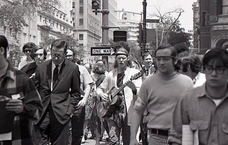 Marching to the rally in the middle of what was for some an ordinary business day. Anti-war demonstration, Washington DC, May 9, 1970.