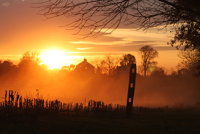 November 7, 2014. Photofreak. Old barn silhouetted in the setting sun at Antietam Battlefield. Sharpsburg, Maryland.