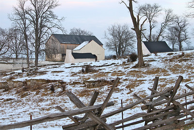 February 10, 2013. Joseph Poffenberber Farm again. Different angle, different fence. Antietam Battlefield. Sharpsburg, MD. Have a wonderful Sunday and thank you all so much for your nice comments. I'm doing my best to keep up but I'm working long days right now and 6 days a week. Sometimes I fall asleep before I get too far.