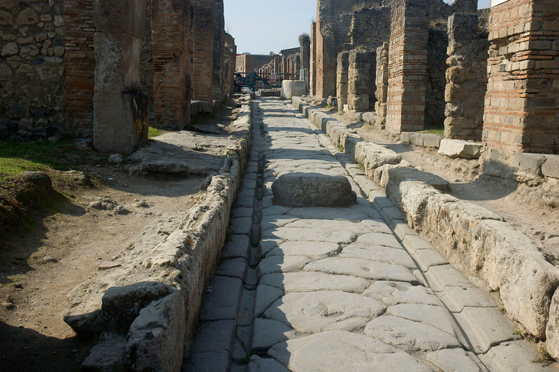 Street in Pompeii with wagon ruts evident