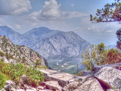 Looking down to the valley from the ruins of Termessos in Southwestern Turkey.  this is one of the reasons the city was not captured by Alexander the Great.
