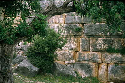 Wall of the ancient theater at Kas on Turkish coast.