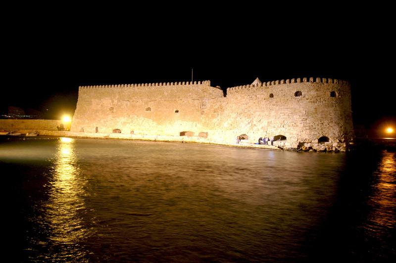 Venetian Fortress at Iraklion Crete at night