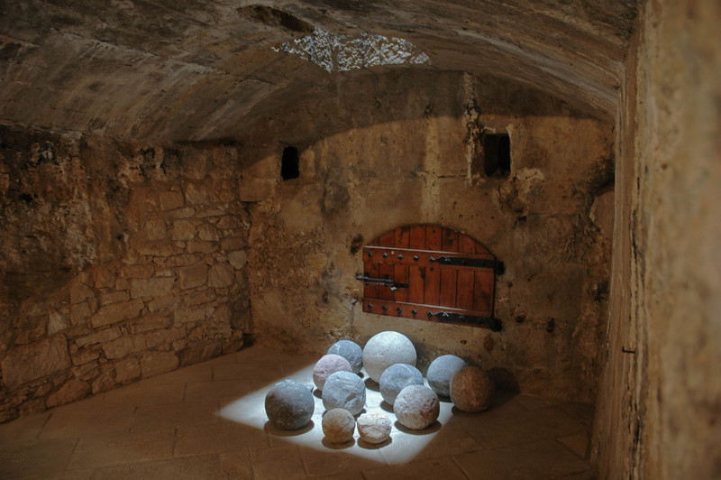 Cannonballs in gunport of the Venetian Castle, Heraklion, Crete