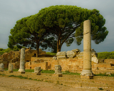 Street in Ostia Antica, the ancient Roman port city.  One of the best preserved Roman sites in Italy
