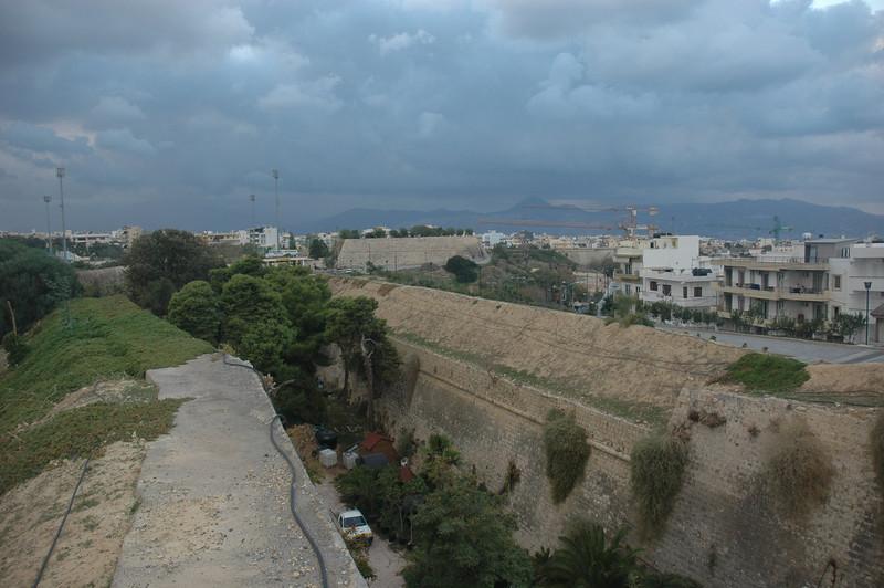 City walls at Iraklion on the island of Crete.