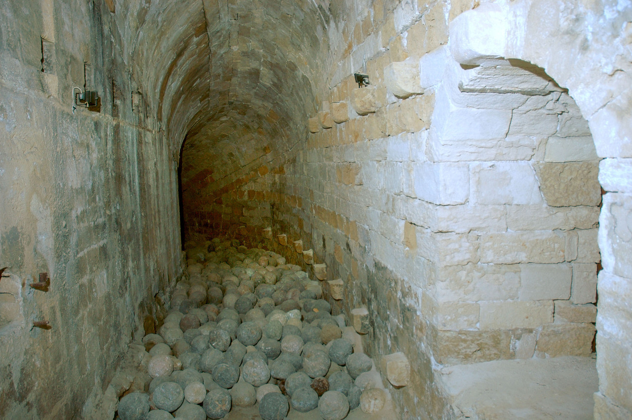Cannonballs stacked in one of the passages in the Venetian fortress in Iraklion.