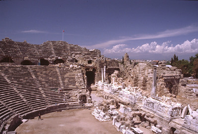 Roman theater at the ancient site of Side on the southwestern coast of Turkey